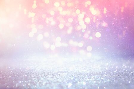 background of abstract glitter lights. purple, pink, gold and silver. de focused Stock Photo