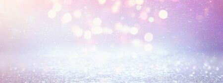 background of abstract glitter lights. purple, pink, gold and silver. de focused. banner Stock Photo - 128866196