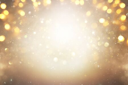 blackground of abstract glitter lights. silver and gold. de-focused Stock Photo - 128866246