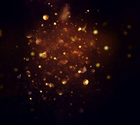 blackground di luci glitter astratte. blu, oro e nero. de concentrato Archivio Fotografico