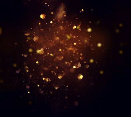 blackground of abstract glitter lights. blue, gold and black. de focused Stock fotó