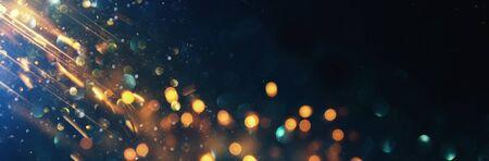 sfondo di luci glitter astratte. blu, oro e nero. de concentrato. striscione