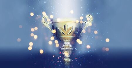 sports concept low key image of gold trophy over dark smoky background and glitter lights