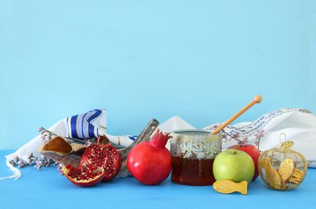 religion image of Rosh hashanah (jewish New Year holiday) concept. Traditional symbols Stock Photo