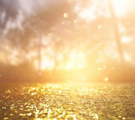 Abstract background of light burst among trees and glitter golden bokeh lights Imagens