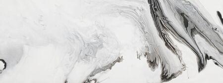 Fotografie des abstrakten marmorierten Effekthintergrundes. Kreative Schwarz-Weiß-Farben. Schöne Farbe. Banner