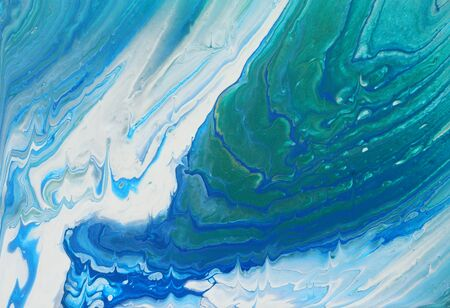 art photography of abstract marbleized effect background. turquoise, emerald green, blue, white and gold creative colors. Beautiful paint. 版權商用圖片