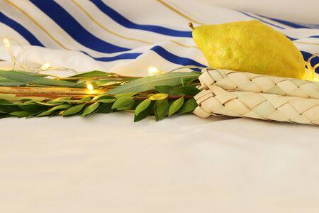 Jewish festival of Sukkot. Traditional symbols (The four species): Etrog, lulav, hadas, arava