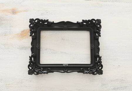 blank black photo frame over white background. Ready for photography montage. top view flat lay Stock Photo
