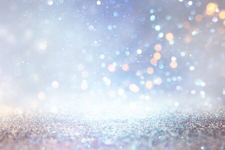 abstract glitter silver, gold , blue lights background. de-focused Imagens - 131801446