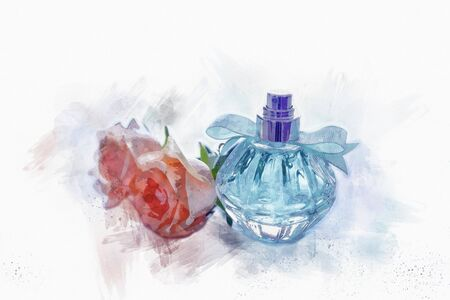 art concept of watercolor style and abstract illustration of vintage perfume bottle