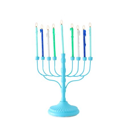 religion image of jewish holiday Hanukkah with blue menorah (traditional candelabra) and colorful candles isolated over white background Standard-Bild