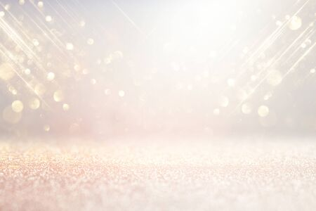abstract background of glitter vintage lights . silver, gold and white. de-focused Stock fotó
