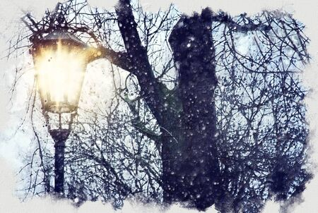 oil painting style illustration of old street lamp and bare trees at winter Archivio Fotografico - 137371088