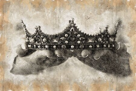 black and white pencil sketch style and abstract illustration of lady holding diamond crown. fantasy medieval period