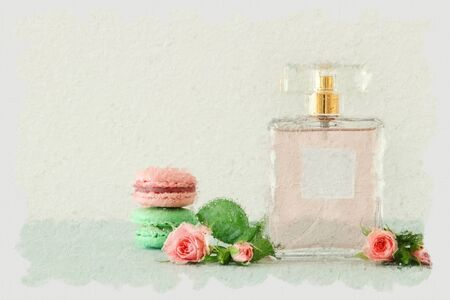 Image of perfume bottle with rose petals flowers and macaroon over pastel table 스톡 콘텐츠