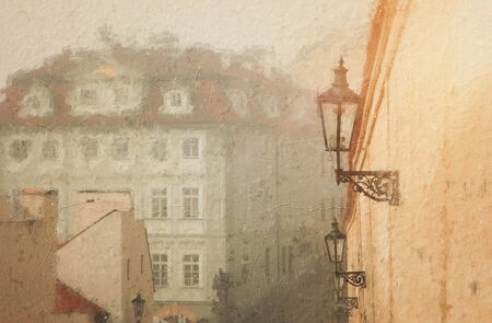 oil painting style illustration of Prague with old beautiful houses in the winter Archivio Fotografico - 137371130