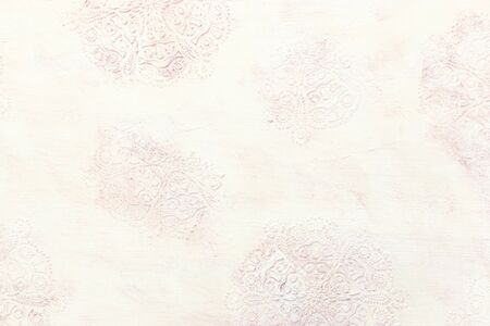 background of white wooden vintage wall with floral emboss details Stock fotó