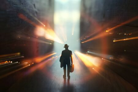 concept image of seeing the Light at the End of the Tunnel. sci fi or mystery Archivio Fotografico
