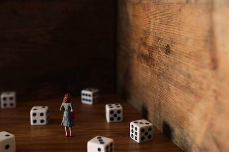 A surrealistic image of a woman facing a dead end after trying her luck and encountering a problem. concept of fear and anxiety Archivio Fotografico