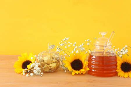 rosh hashanah (jewesh holiday) concept - honey traditional holiday symbol