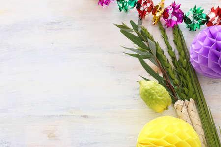 Jewish festival of Sukkot. Traditional symbols (The four species): Etrog (citron), lulav (palm branch), hadas (myrtle), arava (willow) Archivio Fotografico - 151071441