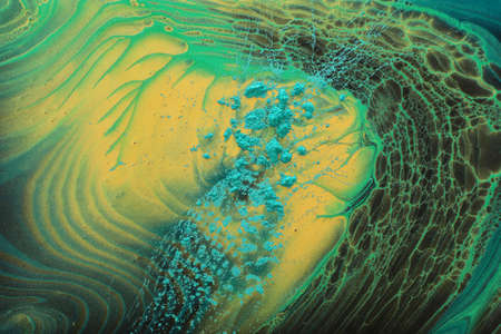 art photography of abstract marbleized effect background. Gold and balck, green creative colors. Beautiful paint. Archivio Fotografico - 150987175