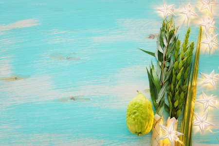Jewish festival of Sukkot. Traditional symbols (The four species): Etrog (citron), lulav (palm branch), hadas (myrtle), arava (willow) Stock Photo