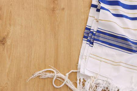 religion concept of White Prayer Shawl - Tallit, jewish religious symbol Stock Photo