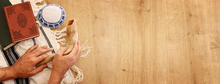 religion image of Prayer book and Shofar (horn) jewish religious symbols. Rosh hashanah (jewish New Year holiday), Shabbat and Yom kippur concept