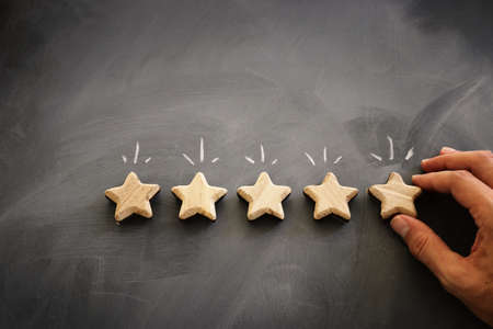 concept image of setting a five star goal. increase rating or ranking, evaluation and classification idea
