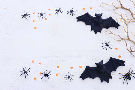 holidays concept of Halloween. Bats and spiders over white wooden background. Top view, flat lay