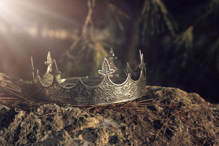 mysterious and magical photo of silver king crown in the England woods over stone. Medieval period concept.