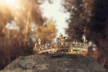 mysterious and magical photo of gold king crown in the England woods over stone. Medieval period concept.