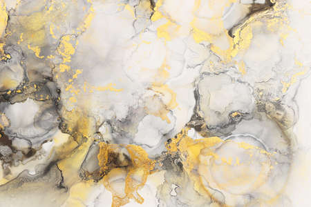 art photography of abstract fluid art painting with alcohol ink, black, gray and gold colors Reklamní fotografie