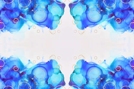 art photography of abstract fluid painting with alcohol ink, blue and gold colors