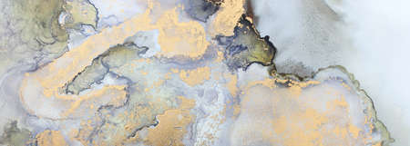 art photography of abstract fluid art painting with alcohol ink, black and gold colors Standard-Bild