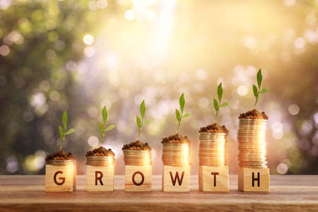 wooden cubes and stacked coins. growth and success concept Standard-Bild