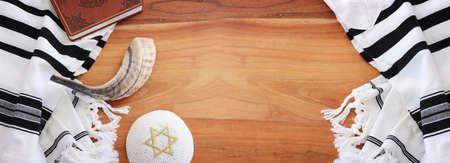 religion image of shofar (horn) on white prayer talit. Rosh hashanah (jewish New Year holiday), Shabbat and Yom kippur concept Stock Photo