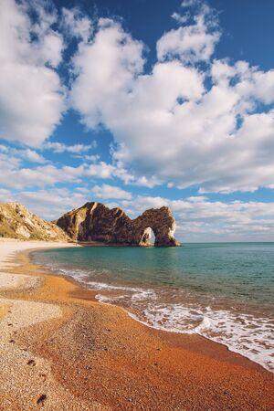 Durdle Door rock formations on coast in Dorset, England