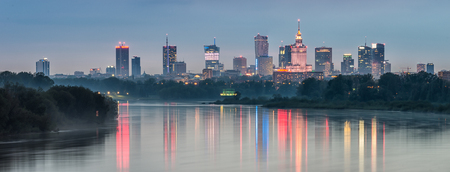 Night skyline of Warsaw, Poland, over the river Vistula in the night