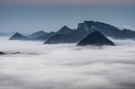 carpathians: Poland landscape, Pieniny mountains in the sea of fog in the night with Trzy Korony (Three Crowns) peak