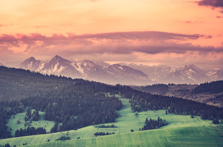 tatra: Beautiful spring panorama over Spisz highland is a snowy Tatra mountains in the morning, Poland