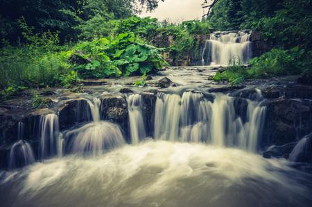 peacefull: Waterfall in Wierchomla, Beskid Sadecki mountain range in Polish Carpathian Mountains