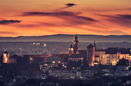 Krakow panorama from Krakus Mound, Poland landscape in the evening. 스톡 콘텐츠