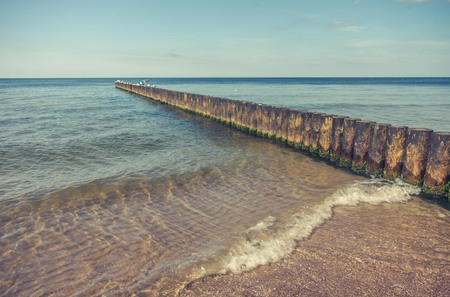 groyne: Wooden groyne - Baltic seascape, Poland
