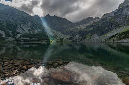 Tatra mountains landscape, panorama of Black Strait, Poland (Black Pond)