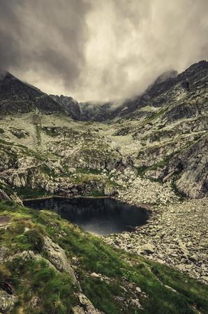 Tatra mountains landscape, panorama of Zmarzly pond in high Tatras, Poland (Frozen Pond) Stock Photo