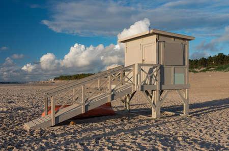 Lifeguard shed on the Baltic coast, Row, y Poland