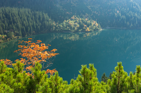 Tatra mountains, Morskie Oko lake in fall seen from above